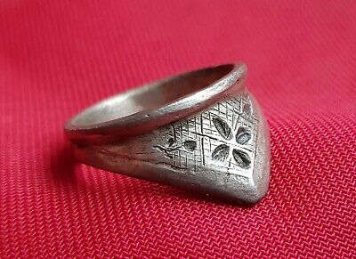 Ancient Silver  East Roman - Byzantine Legionary  Archers Thumb Ring