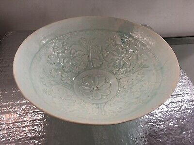 Ancient Chinese  Incised/carved Porcelain Bowl Blue/Green Glaze