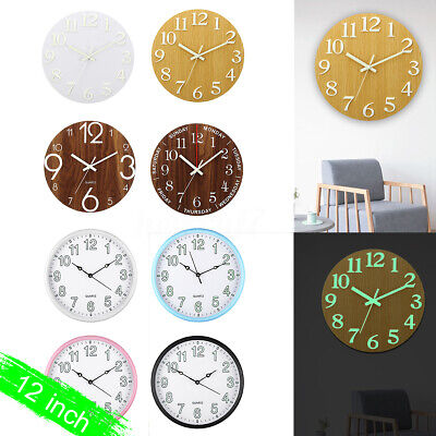 5 Types 12''  Luminous Wall Clock Glow In The Dark Silent Quartz Home DIY Office