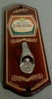 Vintage Retro Wall Mounted Beer Lager Bottle Opener Canadian Molson Bar Mancave