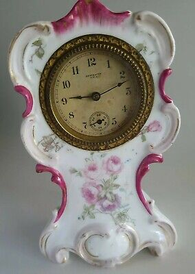 """Victorian/Antique New Haven USA Hand Painted Porcelain Clock w/Pink Roses  6.25"""""""