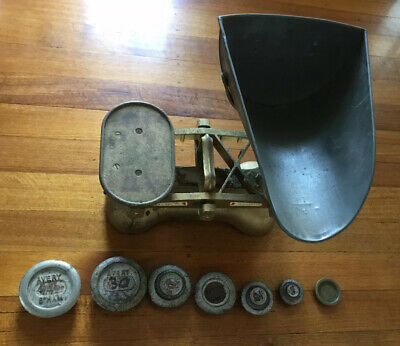 Great Vintage Avery Birmingham Bank Scales With Weights & Old Banker Books