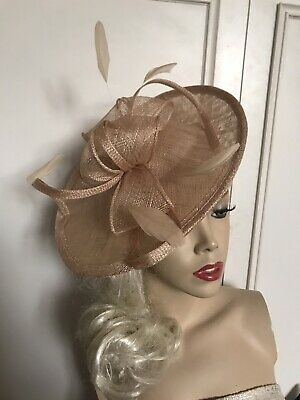 Nude Beige Gold Fascinator Feather Saucer Wedding Hat Formal Hatinator