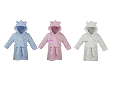 Baby Boy Baby Girl Personalised Dressing Gown In Blue White Or Pink