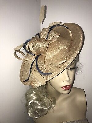 Nude Beige Gold & Navy Fascinator Feather Saucer Wedding Hat Formal Hatinator