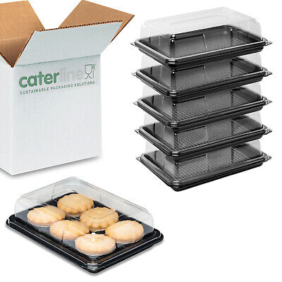 10 Caterline mini catering trays with lids for partyfood Plastic buffet platters