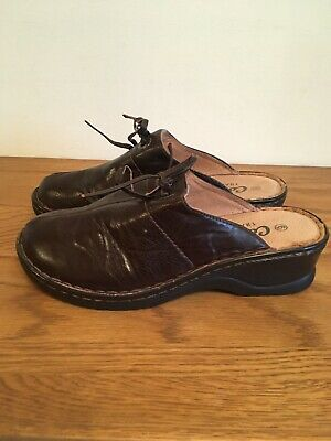 Ladies Brown Mules Size 6 Uk By Cotton Traders Wedge Shoes Slip On Comfort