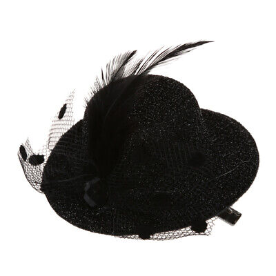 Feather Net Bow Hair Clip Black Mini Top Hat Party Lolita Cosplay Goth P9X6