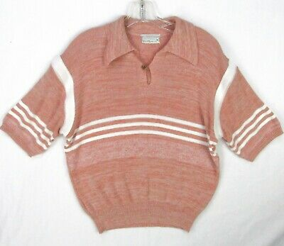 Vintage 60s Peach Stripe Acrylic Knit Polo Sweater Men XL Banded Waist Space Dye