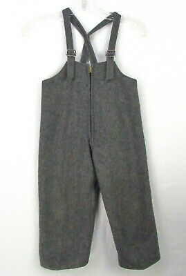 Vintage 50s 60s Gray Wool Bib Overalls Snow Pants Lined Kids Toddler 3T 4T Warm