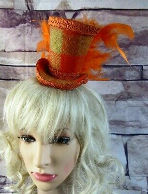 Stunning Genuine HARRIS TWEED Mini Top Hat Fascinator Orange Tartan (HT1)