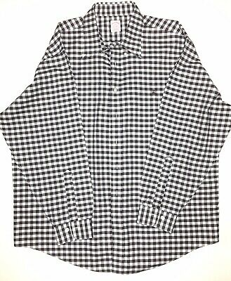 Brooks Brothers Supima Cotton Brown Blue Checker Button Down Shirt Mens XXL
