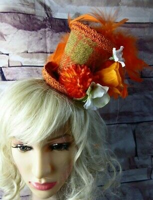 Stunning Genuine HARRIS TWEED Mini Top Hat Fascinator Orange Tartan (HT2)b