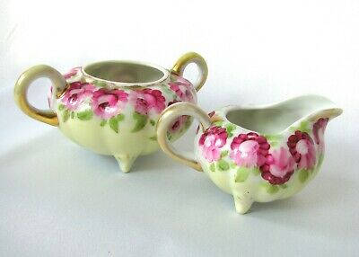 Antique Royal Nippon Creamer and Sugar Bowl, Antique Melon Shape c.1800s