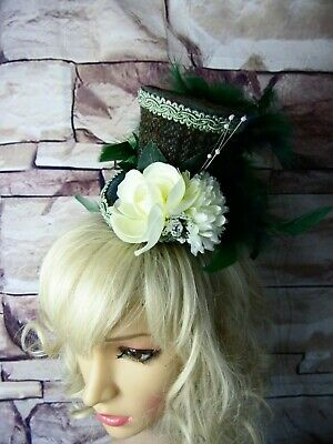 Stunning Genuine HARRIS TWEED Mini Top Hat Fascinator Green (HT3)