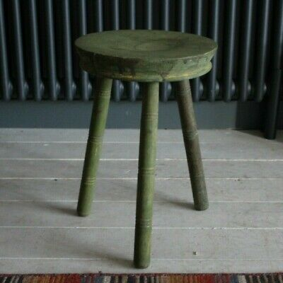 Vintage 3 Legged Wooden Stool / side table original painted shabby chic rustic