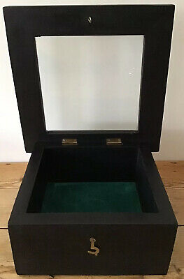 Vintage, Ebonised, Glass Fronted Display Cabinet, With Wall Mounting Brackets