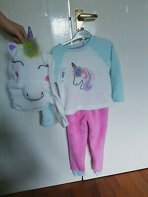 New Girls Unicorn pyjamas with overnight Unicorn backpack bag Age 5 years. BNWT