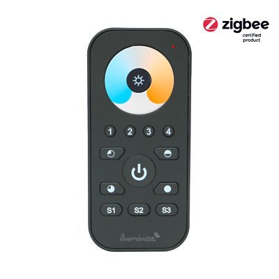 Zigbee 3.0 handheld remote control mini for duo-white LEDs, 4 light zones | blac