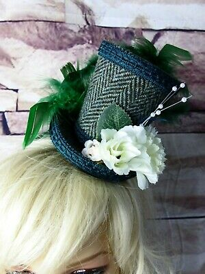 Stunning Genuine HARRIS TWEED Mini Top Hat Fascinator Green Herringbone (HT3)a