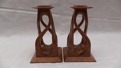Arts and crafts Square Oak Candlesticks Brass Inserts