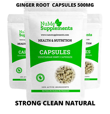 Ginger Root Extract Capsules 500mg Strong Natural Pure 5% Ginerols Inflammation