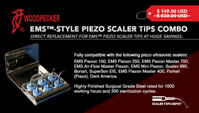 Piezo Scaler Tips Combo for EMS™ Piezo Scalers at 70% less cost.