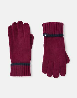 Joules Womens Snowday Knitted Gloves - BERRY BLUSH