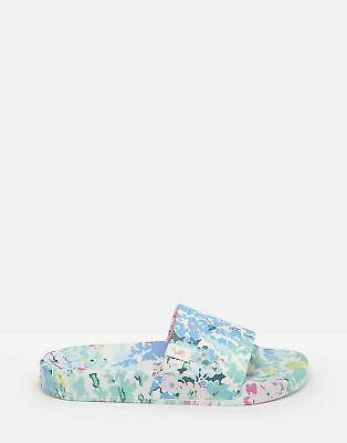 Joules Womens Poolside Pu Sliders - WHITE FLORAL