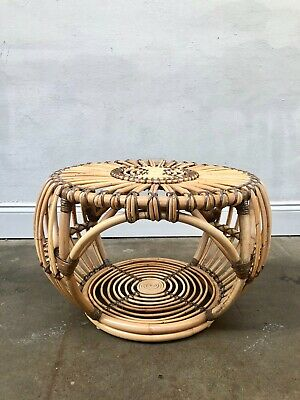 Vintage Franco Albini Style Cane Rattan Lobster Pot Ottoman Stool / Coffee Table