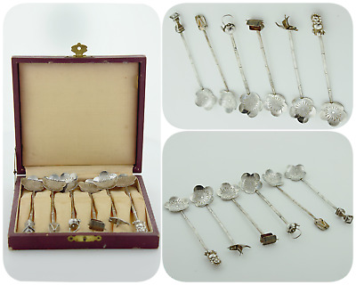 Vintage Japanese Sterling Silver .950 Demitasse Bamboo Spoons Set of 6