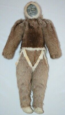 "Handmade Vintage Eskimo Inuit Doll 18"" Tall Carved Soapstone Head Deer Fur Hide"