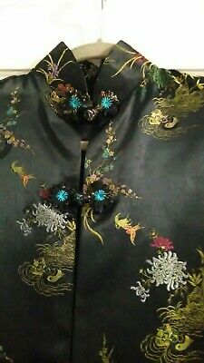 Vintage Black Embroidered Silk Satin Kimono Jacket Duster Size Med