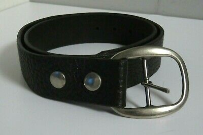 Robbie French Designs Unisex Made In Usa Black Leather Popper Off Buckle Belt 32