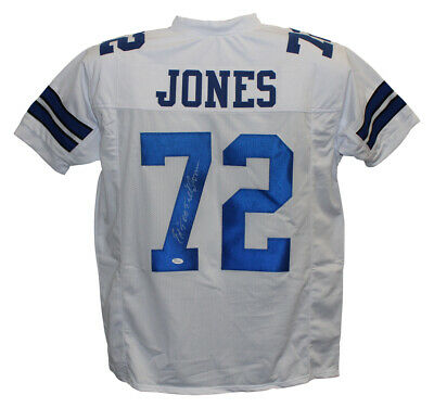 Ed Too Tall Jones Autographed/Signed Pro Style White XL Jersey JSA 25118