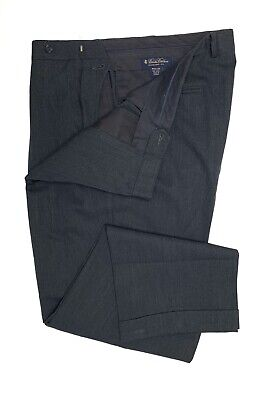 B77 Brooks Brothers Charcoal Gray Pleated Front Dress Pants Mens 38/30 100% Wool