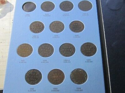 1859-1920 Canada LARGE CENTS Coins Collection – 41 Canadian Pennies VG-VF Cond