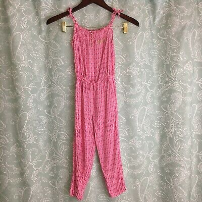 Juicy Couture Girls 5 Pink White Long Romper Bow Shoulder Ties