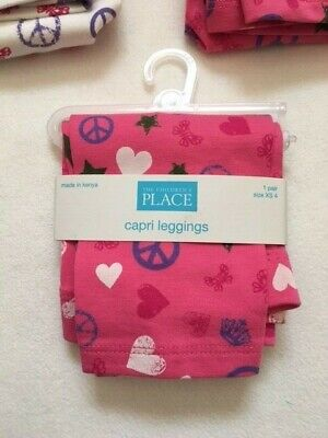NWT The Children's place pink hearts peace signs capri leggings XS 4