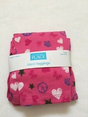 NWT The Children's place pink hearts peace signs capri leggings S 5-6