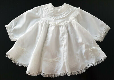 STUNNING VINTAGE, 1960's, WHITE BABY DRESS ~ LIGHT SATIN & LACE, FULL SKIRT