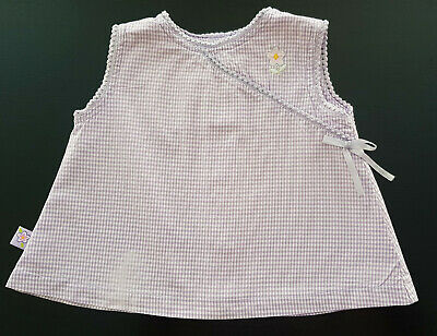 VINTAGE 1980's BABY GIRL 'TARGET' SLEEVELESS MAUVE & WHITE GINGHAM TOP Sz 00