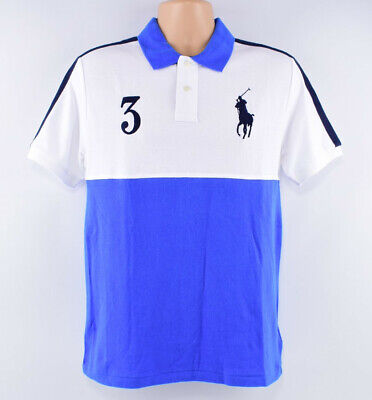 POLO RALPH LAUREN Men's BIG PONY Polo Shirt, Blue/White, size S (18-20 years)