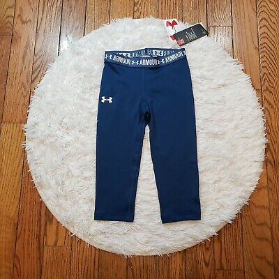NWT Under Armour Girls' HeatGear Armour Solid Capri Leggings Size Youth Small