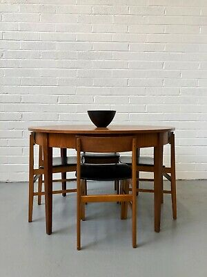 Vintage 1960s Nathan Teak Dining Table & Chairs Hans Olsen Danish Retro