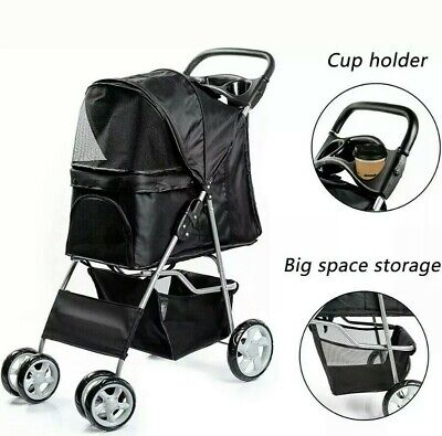 Pet Stroller Dog Puppy Cat Pram Travel Buggy Pushchair for Animals Jogger BLACK