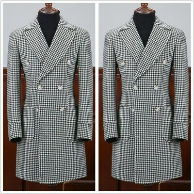 Men's Double-breasted Houndstooth Long Checked Blazer Suits Tweed Dinner Custom