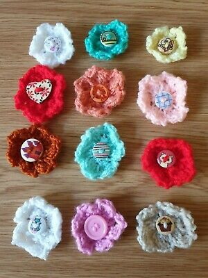 Hand Knitted Flowers - Diameter 4cm to 5cm Approx - Various Colours Available