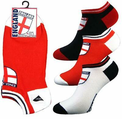 3 6 12 Pairs England Trainer Liner Ankle Socks Mens Womens Cotton Rich Sports
