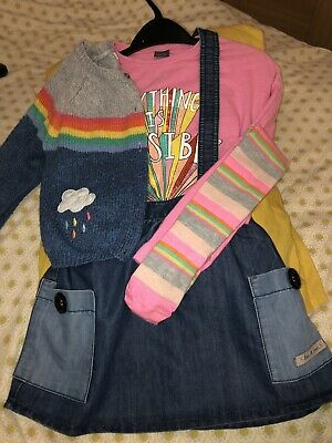 Girls 3-4 MixAnd Match Next Outfit, Pinafore/skirt,3 Tops,Cardigan +Free Tights